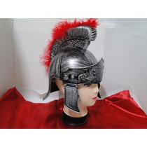 Capa Vermelha Capacete Elmo Centurião Romano Gladiador Show