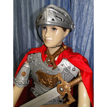 Gladiador Capa Espada Infantil Bracelete Elmo Armadura