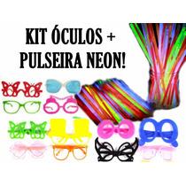 Kit C/ 30 Óculos + 100 Pulseira Neon - Casamento, Balada