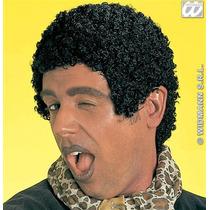 Peruca Afro Traje - 70s Olhar Molhado Curto Preto Tom Jones