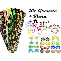 Kit Festa C/ 15 Gravata Neon + 15 Tiara + 15 Óculos