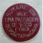 Ficha De Onibus Antiga 1940 Utilizada No Transporte Urbano
