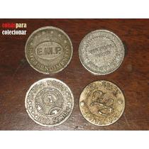 Quatro Fichas Nacionais Antigas Jogo Cassino Metal Coleção