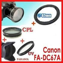 Kit Adap Canon Sx30 Sx40 Sx50 Polarizador Cpl + Uv + Parasol