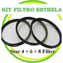 Kit Filtro Estrela 4 6 8 Pt 52mm 55mm 58mm 67mm 72mm 77mm 82