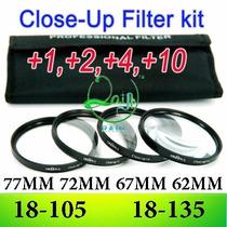 Kit Lentes Close-up Macro +1+2+4+10 77mm 74mm 72mm 67mm 62mm