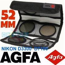 Agfa Kit 3 Filtros Uv Cpl Nikon 52mm Nikkor D3300 D7100 3200