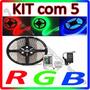 Kit Com 5 Fita Led 5m Rgb Auto Adesiva + Controle + Fonte