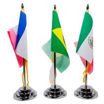 Bandeira De Mesa Luxo Base E Mastro Cromado Em Metal Cordão