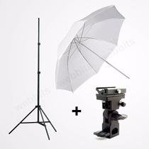 Kit Estúdio: Tripé Iluminação + Sombrinha + Suporte P/ Flash