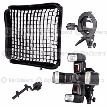 Softbox Speedlight Dobrável 80x80cm Para 4 Flashes Dedicados
