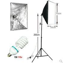 Kit Luz Continua Foto Softbox 50x70cm + Tripé + Lâmpada 150