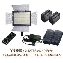 Ultra Iluminador Led Yn600 C/ 2 Baterias 2 Carregador Fonte