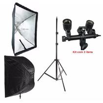 Kit Estúdio Softbox Sombrinha 60x90 P/ Fotografia E Filmagem