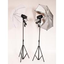 Estudio Fotografico 2 Flashes + Tripé + Sombrinha 300w