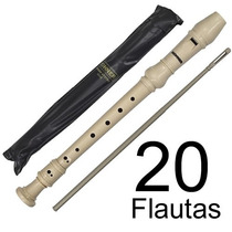 Kit 20 Flautas Doce Soprano Germânica Barroca Em Dó Com Capa