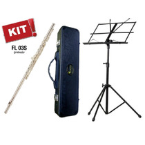 Kit Flauta Eagle Fl03s Prateada Transversal Dó Case Estante