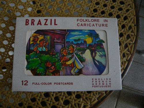 Folklore In Caricature Brazil 12 Color Postcards Folclore