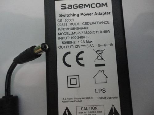 Fonte 12v 3,8a Sagemcom Dvr Cameras Notebook Monitor
