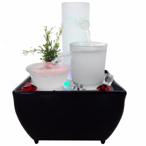 fontes de agua para decoracao de interiores : fontes de agua para decoracao de interiores:Fonte De Agua Led Luz Ceramica Cascata Decoracao – R$ 79,90 no