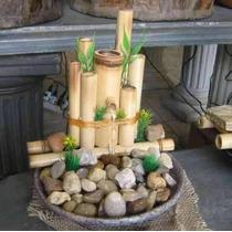 Fonte De Água Bambu E Pedras - Pague Com Cartão