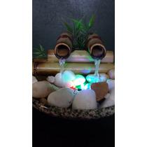 Fonte Agua Bambu Feng Shui Cerâmica E Pedras 2 Bicas Com Luz