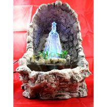 Nossa Senhora Aparecida Gruta Água Resina Cascata Luzes Led