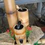 Fonte De Água Bambu E Pedras 3 Quedas