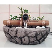 Fonte/agua/cascata/bambu Mini Base Resina Imitando Pedra.
