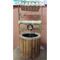 Fonte Agua Poço Bambu Artesanal Decorativo Feng Shui Pocinho