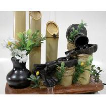 Fonte Decorativa Bambu Tratado 4 Járrinhos Iluminada