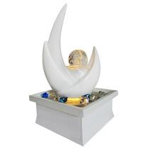 Escultura Decorativa Fonte De Agua Leds Ceramica Vidro Luz