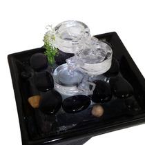 Fonte Cascata De Agua Decorativa Ceramica Vidro Luz Led Chaf