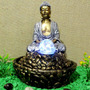 Fonte De Água Esfera Giratória Buda Hindu Yoga Com Luz