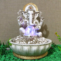 Fonte Água Ganesha Elefante Marfim Com Esfera Giratória Luz