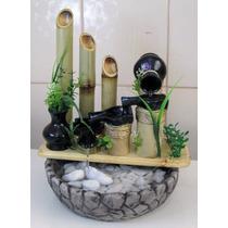 Fonte Cascata Decorativa Bambu 4 Jarrinhos Frete Gratis