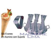Forma Para Pizza No Cone Com 6 Cones Em Alumínio