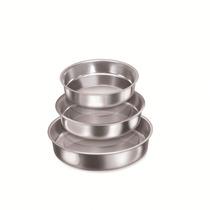 Jogo Com 03 Assadeiras Redonda Alta (1 A 3) Aluminio