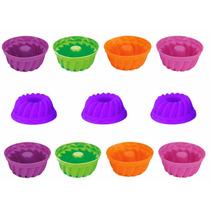 Kit 12 Formas Silicone Mini Bolo Cupcake Muffin Pudim