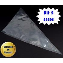 Kit Jogo 5 Sacos Confeitar Grande Descartáveis 38x25 Mago