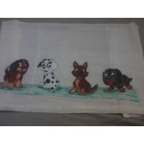 Fralda Pintada A Mão Cachorros Com Bico De Crochê