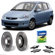Kit Combo Disco + Pastilha Freio Dianteiro Honda Fit 1.4 1.5