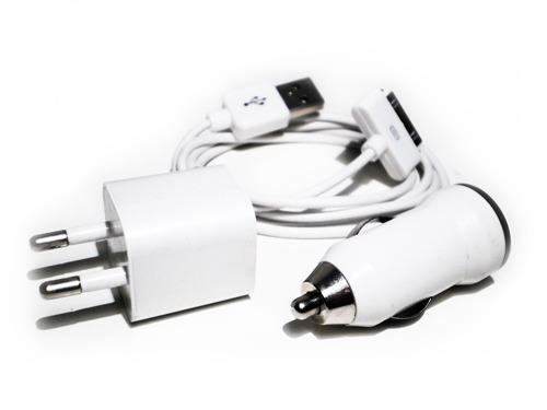 Frete Gratis Kit Carregador Ipod Iphone 3x1 Veicular Usb 3g
