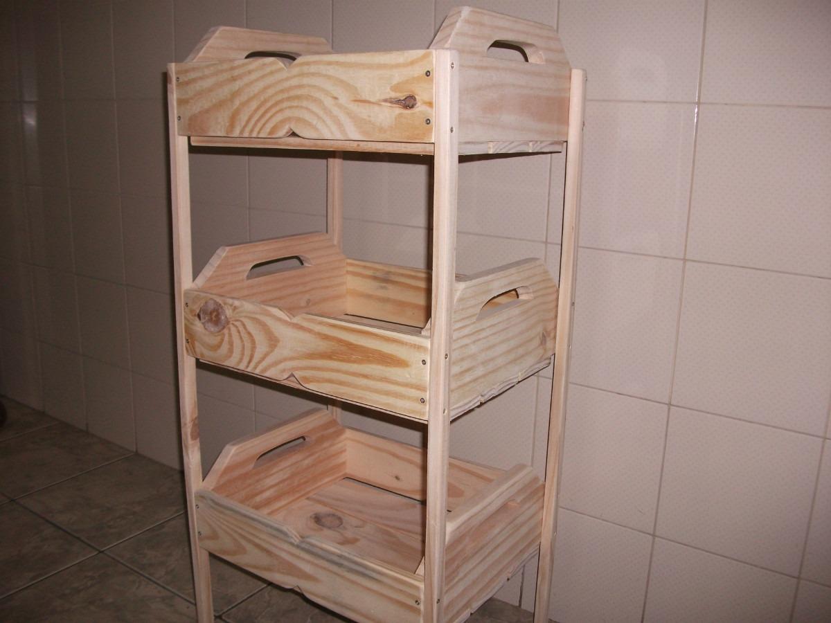 Fruteira De Caixotes  1001 Utilidades.(madeira)com Rodizios R$ 149  #8E613D 1200x900