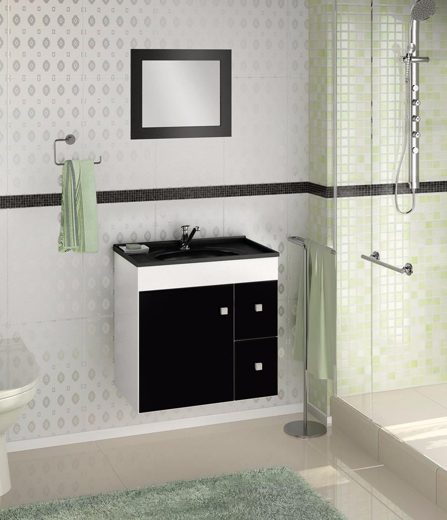 Gabinete Armário Banheiro Com Espelheira Vitória  R$ 199,00 no MercadoLivre -> Armario Banheiro Verde