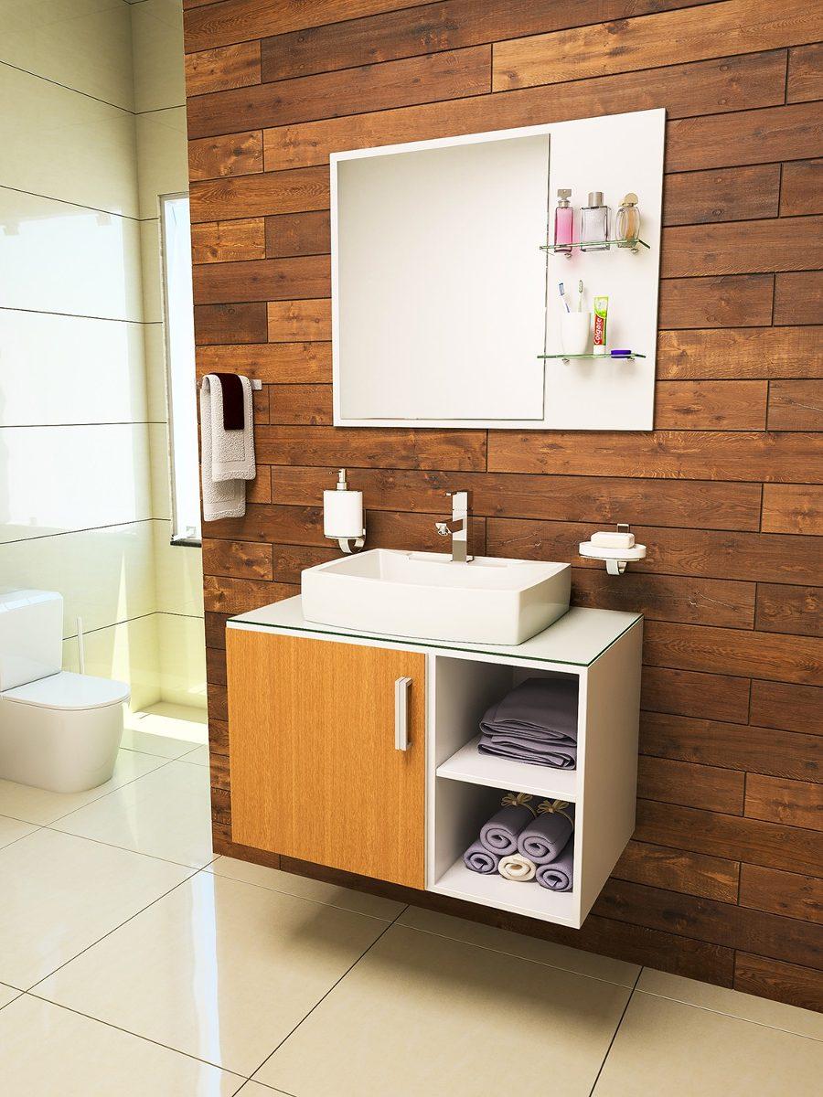 Gabinete  Armário Banheiro Taranto 80  R$ 689,90 no MercadoLivre -> Armario Para Banheiro De Pvc Mercadolivre