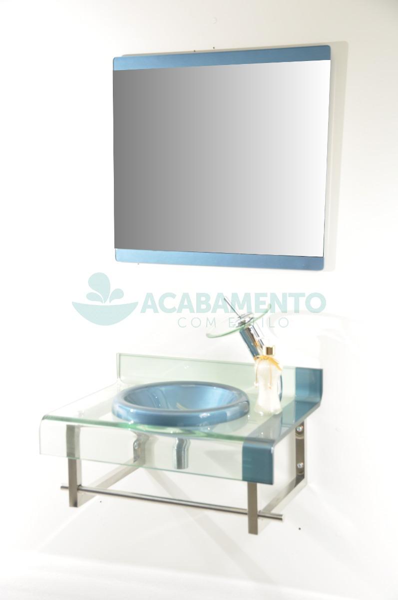 Gabinete De Vidro Banheiro Azul 60 Cm  R$ 749,00 no MercadoLivre -> Armario Para Banheiro De Vidro Mercadolivre