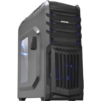 Gabinete Gamer Pcyes Tiger Led Azul E Suporte Para Headphone
