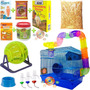 Kit Para Hamster Com 10 Peças (gaiola,bola,ração,serragem..)