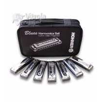 Kit 7 Gaitas Hohner Harmônica Blues Band (c,d,e,f,g,a,bb)